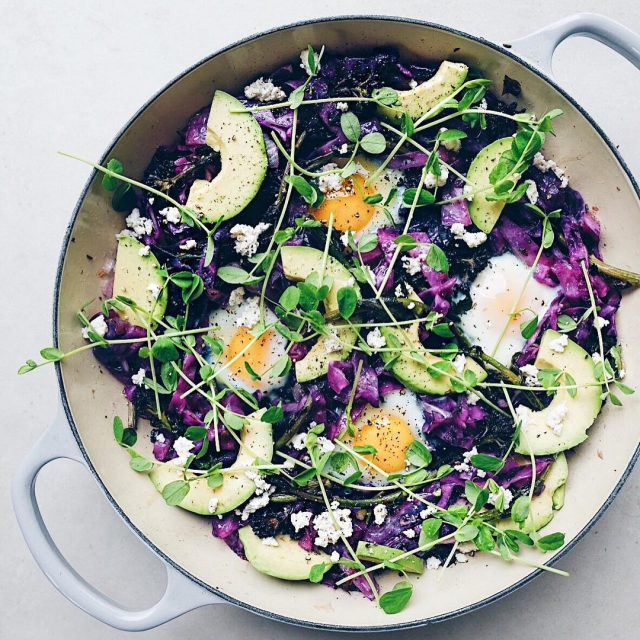 This Purple Sprouting Broccoli and Cabbage Baked Egg Skillet withhellip