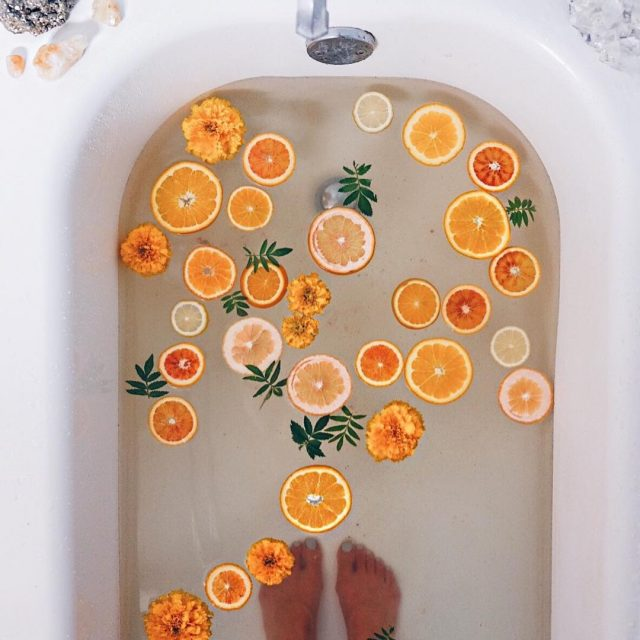 Orangesandalwood mineral salt bath taking selfcaresunday to the max! Ihellip
