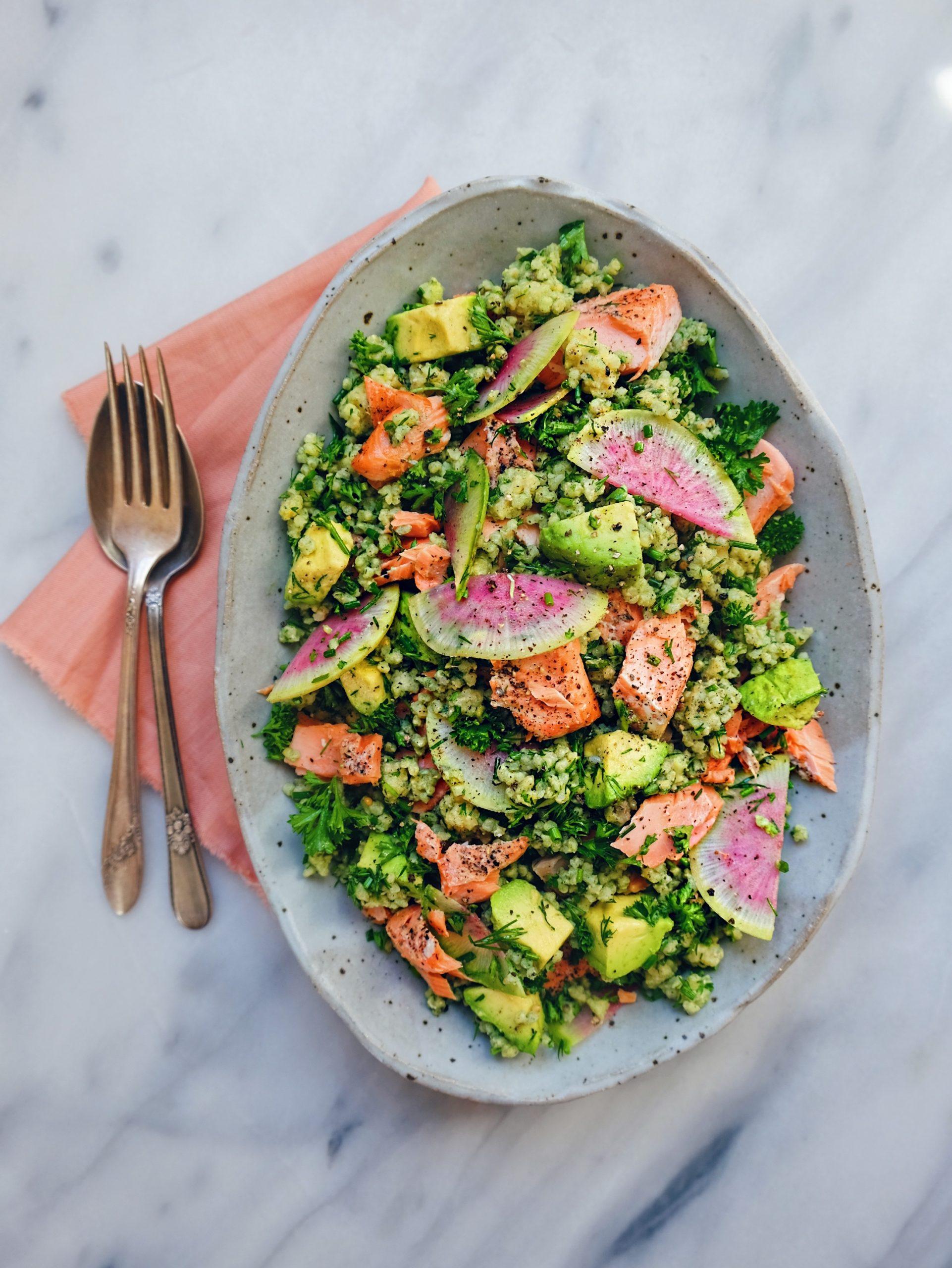 wu haus salmon millet supergreen salad recipe